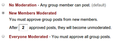 Setting up Freecycle group Post Moderation options