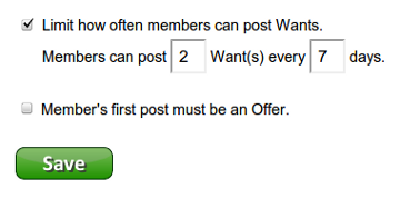 Setting up Freecycle group Post Limits